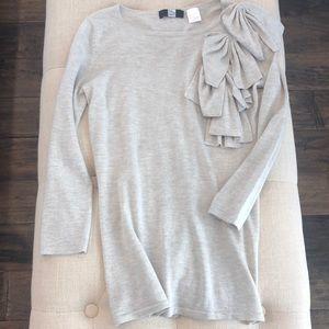 Saks fifth avenue silk cashmere grey knit sweater